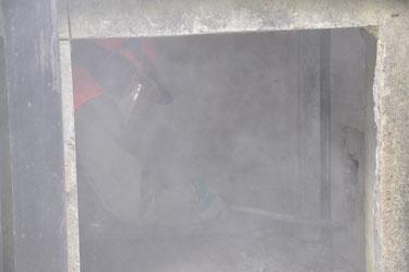 Armierte Stahlbetonwand spitzen
