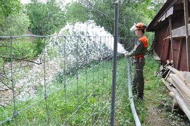 Wasserablauf in den Bach für Wasserpumpe